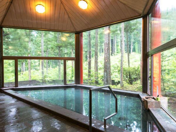 【大浴場】美山森林温泉の湯でおくつろぎください(男性大浴場からの眺めです)