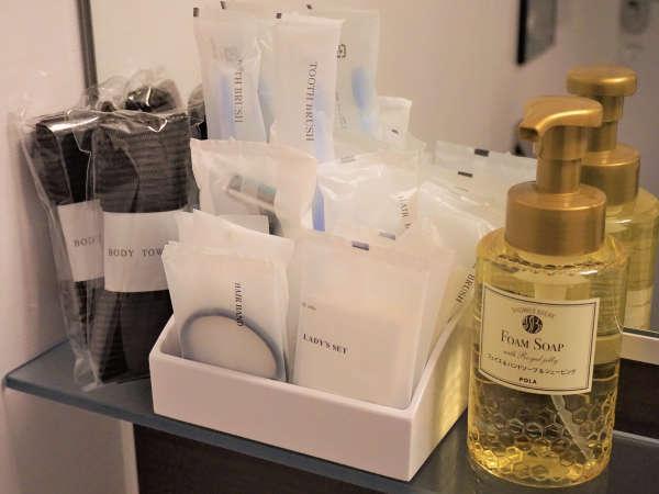 洗顔&ハンドソープや、ボディタオル、女性アメニティ、髭剃り、歯ブラシ等を全室完備しております。