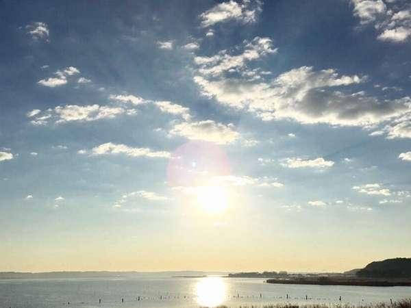 北浦湖からの朝日
