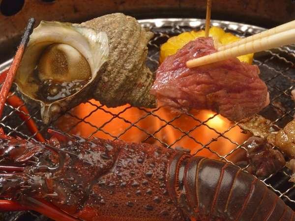 伊勢海老付き海鮮バーベキューの一例