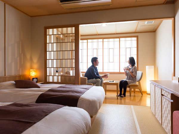 【雪ほたる・洋室35平米】低反発マットを使用したベッドでゆっくりお休みいただけます。