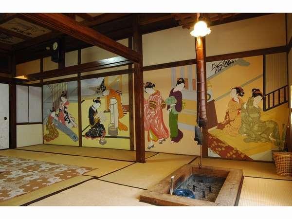 壁には浮世絵 天井には七福神 何となく威容です。囲炉裏を囲んで鍋料理など。