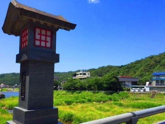 日本遺産認定!三朝温泉♪三朝橋からの清流荘♪