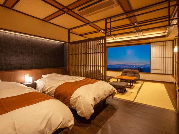 ◆準特別室-秋月-◆源泉かけ流しの半露天風呂付きの人気のバリアフリータイプの和洋室です。
