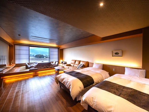 ≪2020年12月完成≫◆準特別室-橘-◆人気の源泉かけ流しの半露天風呂付きの和洋室(掘り炬燵式)です。