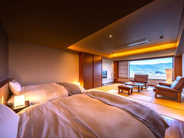 ≪2020年12月完成≫◆準特別室-富有-◆人気の源泉かけ流しの半露天風呂付きの和洋室です。