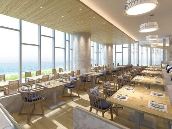 海の見えるレストラン月波楼にて、ライブキッチンから出来立ての料理と和洋折衷のお料理をご提供。※一例
