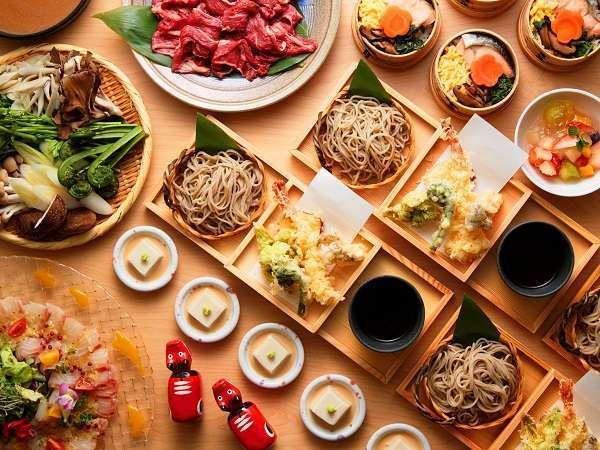 打ちたて蕎麦の天せいろや会津名物料理「わっぱ飯」を楽しめるビュッフェ