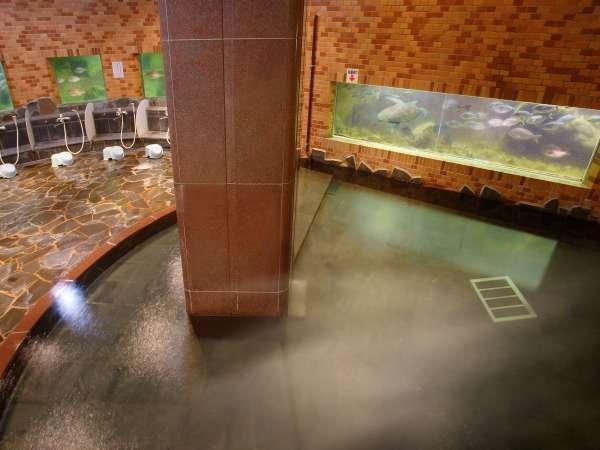 沢山の魚や亀が周りを泳いでいる水族館大浴場『龍宮』AM6時~