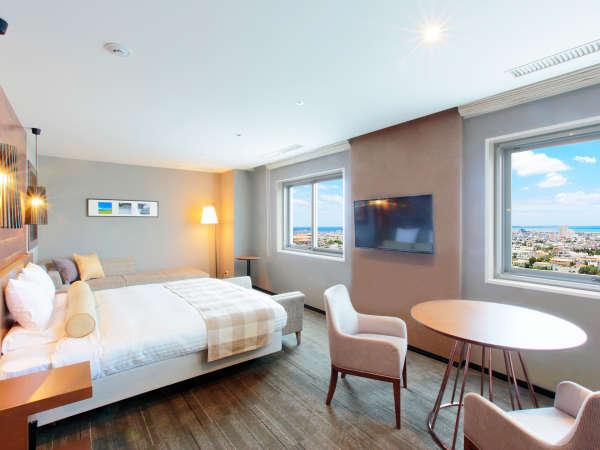 【オーシャンビュー デラックスクイーン】客室最上階限定1室 2名様から3名様までご宿泊可能