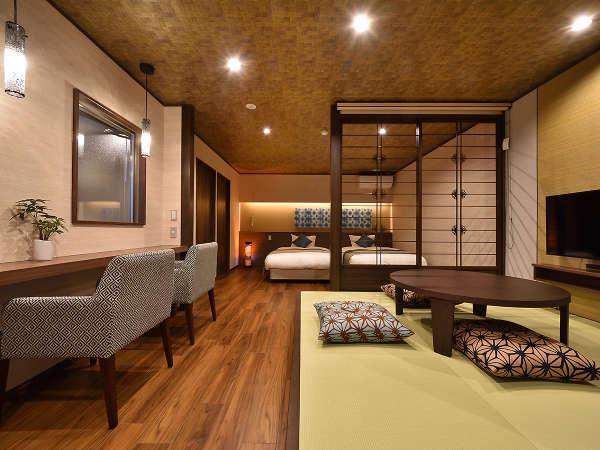【特別室 待宵草(まつよいぐさ)】2019年10月OPEN!新たな準バリアフリー対応の半露天風呂付きの新特別室