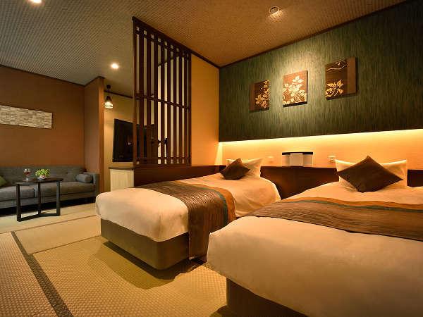 【準特別室 藪柑子(やぶこうじ)】開放的な展望バスルームとウッドテラス付きの準特別室です。