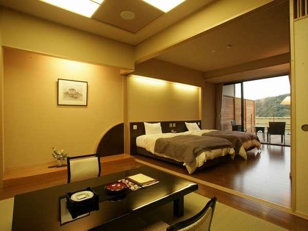 【 【当館人気№1】広いバルコニーに檜の露天付 和洋室  】露天風呂付き和洋室