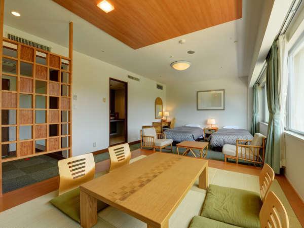 *【禁煙:和洋室】42平米:ツインルーム+和室8畳なのでゆったり寛げます