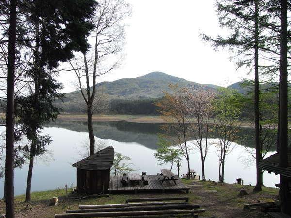 初夏_湖畔の山桜も花を咲かせ、日増しに緑が鮮やかになります。