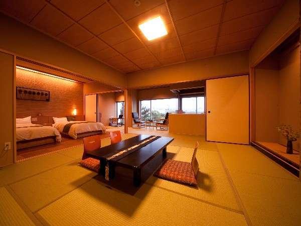 【展望檜風呂付和洋室】和室12.5畳とセミダブルのツインベッドを設置。8人まで宿泊可能♪