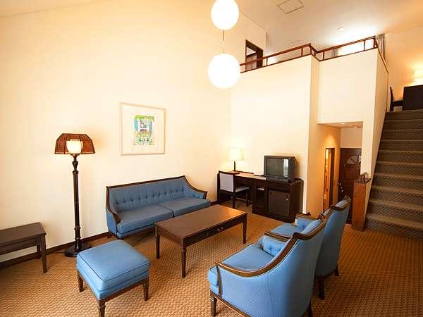 ■76㎡とゆったりした造りのファミリースイートルームは2階が寝室になったメゾネットタイプ。