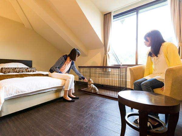 ワンちゃん同室OKのペットルームも!1100×600のペットケージをご用意しています。