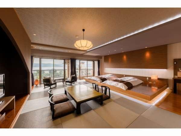 【レイクビュースイート】和洋室55㎡当館自慢の部屋。琉球畳の和モダンな部屋。諏訪湖を一望。