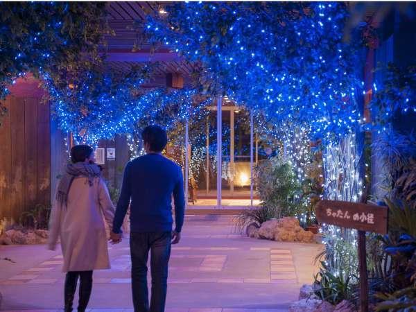 冬季限定 ホテルエントランスもイルミネーションに包まれロマンチックな雰囲気