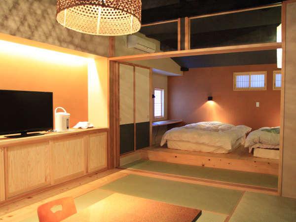 【離れ:和らぎ】半露天風呂付き戸建てタイプ和室10畳+和室8畳+デッキ