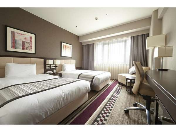【スタンダードツイン】23.1㎡のお部屋に121cmのベッドが2台。