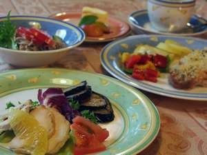 地元野菜と旬の素材を使った洋食コース料理。お酒も地元のワイン、日本酒、焼酎や自家製果実酒をどうぞ。