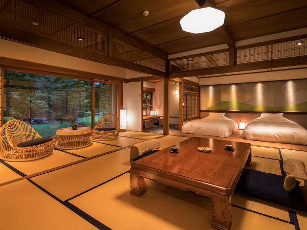 日本庭園を愉しんでいただくことをコンセプトに、現代的なデザインと伝統的なデザインが融合された寛ぎ空間