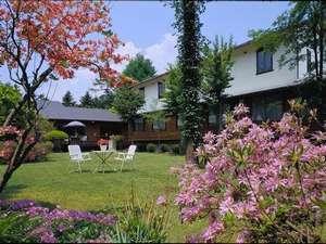 (春)標高1000㍍の中庭、ツツジや山野草が色鮮やかに咲くなど季節の草花が印象的