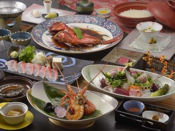 「特別室」リニューアル記念露天風呂付き客室&朝夕お部屋食のお料理の一例。月替わりにて