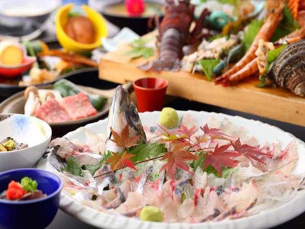 【木蓮会席】朝獲れの新鮮魚介(関アジ、鮑、伊勢海老、etc.)やミニステーキは絶品!/一例