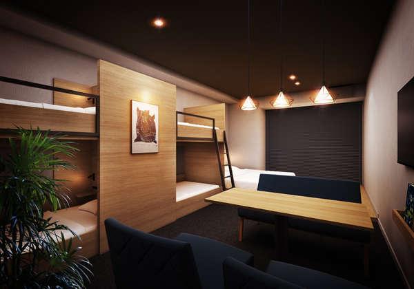 全17室デザイン事務所設計。ロフトベッドにダブルベッド・デラックスダブルベッド設置のデラックスルーム。