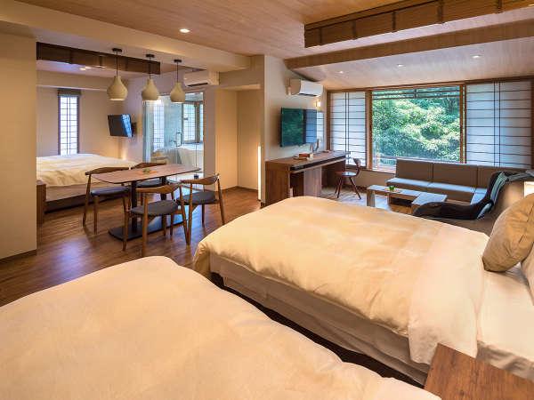 【山側スイートルーム】ご家族やご友人とゆったり過ごす大人の空間。我が家の別荘のようにお寛ぎ下さい。