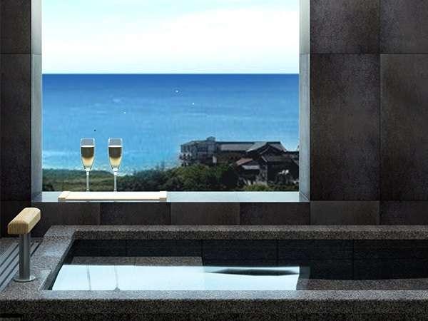 【特別フロア】各客室に用意された展望風呂からは、日本海を一望!
