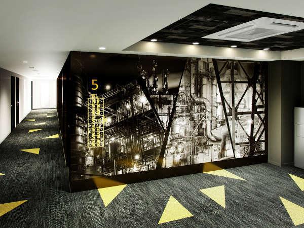 【エレベーターホール】北九州市の花であるひまわりの黄色をアクセントに、工場の夜景をモノトーンで表現