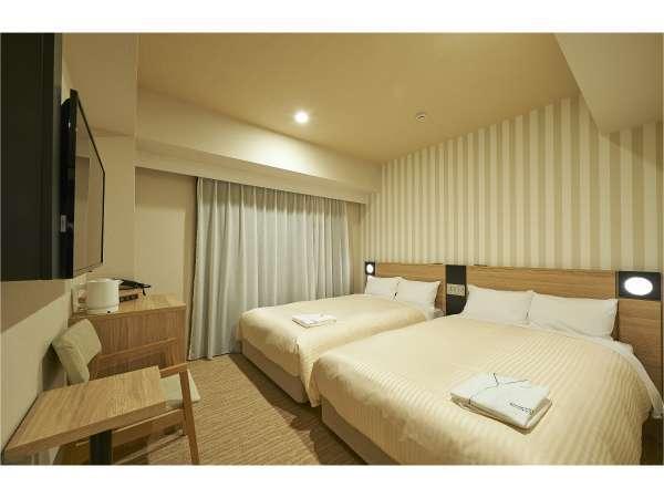 ツイン(サータ社製ベット 120㎝幅)2台 添寝のお子様2名までご一緒にお泊りいただけます!