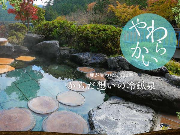 露天風呂付大浴場×2、源泉桧風呂×1、貸切風呂×2。先代より受け継いできた柔らかな冷鉱泉です。