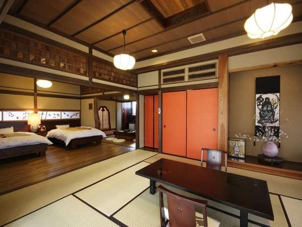【客室/草案】旧細川藩の敷地に明治後期に建てられた茶室を移築し造りました。