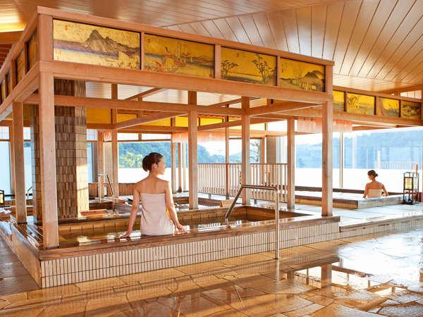 【遠州絵巻の湯】広重のガラス絵と浜名湖の絶景。江戸情緒漂う、天然療養温泉「遠州絵巻の湯」。