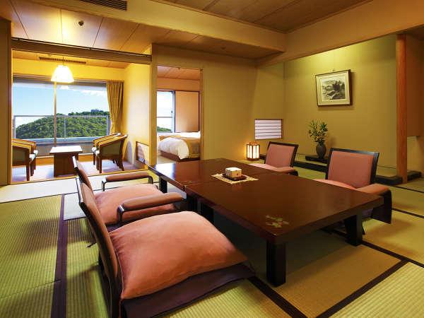 【ツイン+和室12.5帖(禁煙)】浜名湖を一望。上階層のお部屋。ベット付きで足の悪い方も安心です。
