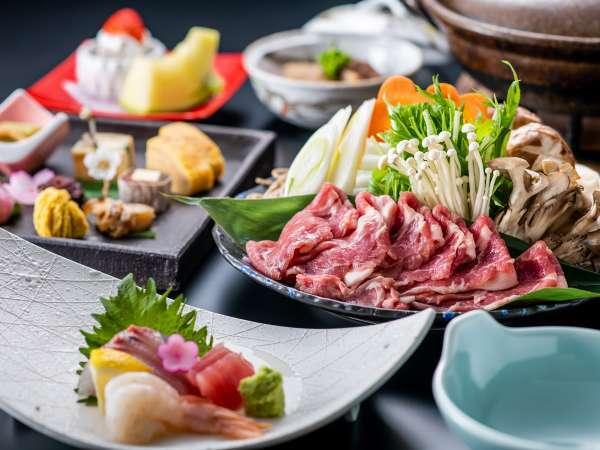 【夕食/とんちり鍋】宮崎ブランドの「きなこ豚」を美しく盛り付けられた季節会席でお楽しみいただけます。