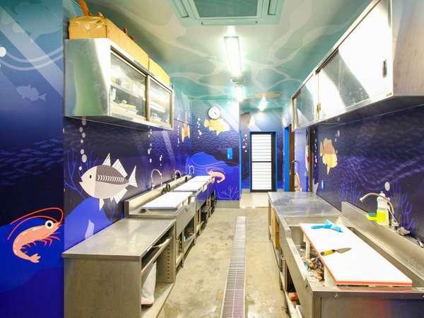さかなを捌ける「さばき所」 釣り教室で釣った魚を捌く空間