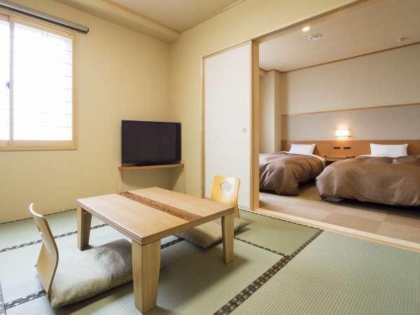 和室7.5畳と洋室ツインルームがひと部屋になっており、ちょうどよい広さと間取りとのお声あり。