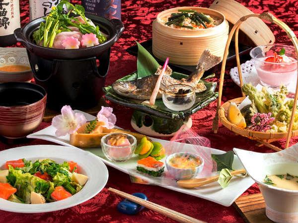 鶺鴒(せきれい)和食コース一例。旬の味覚をお楽しみ下さい。