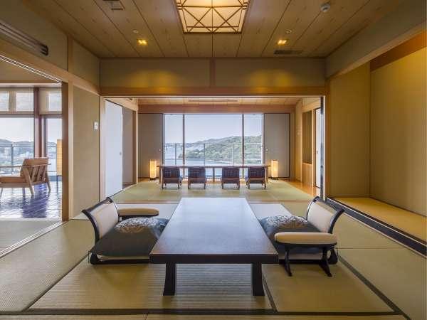 汀館最上階「特別室」広々とした客室と最上階からの眺めを楽しめる掘り炬燵。