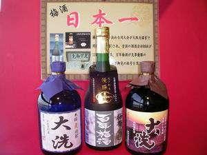 人気の3人酒!!(中央は日本一に輝いた梅酒です)やっぱ、美味いよ!