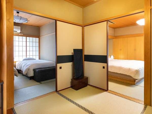 【お部屋】離れ/特別室/露天風呂/和室(トリプルベッド)/10畳+6畳/6名迄