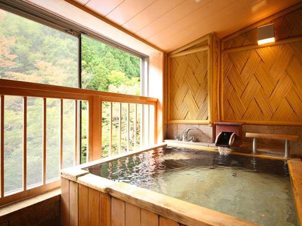 緑の見える貸切風呂【木造風呂:文殊】