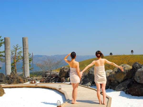 大自然阿蘇健康の森【阿蘇健康火山温泉】雄大な阿蘇の景色を眺めながら開放感を味わえます。