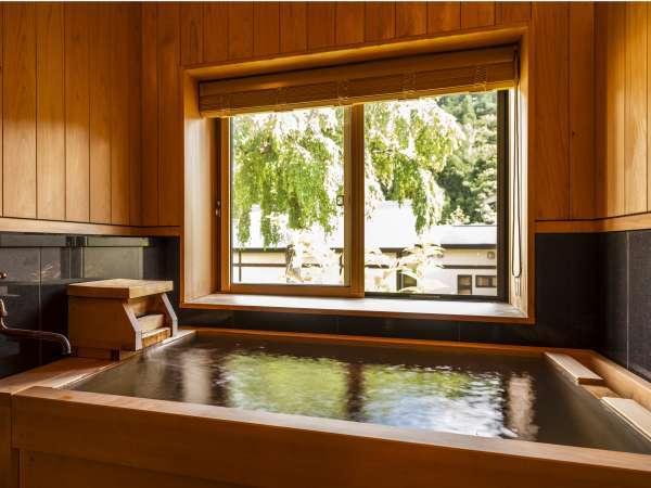 全49室の内、30室の客室風呂で自家源泉かけ流しの温泉を愉しめます。※一部温泉ではない客室もございます。